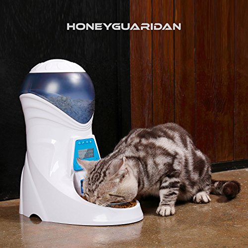 HoneyGuaridan A25 Automatic Pet Feeder Food Dispenser with Removable Food Container, Portion Control,Voice Recording and Timer Programmable, 6-Meal for Dogs (Medium and Small) and Cats & Small Animal by HoneyGuaridan (Image #7)