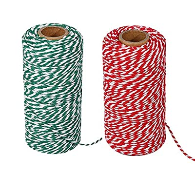 Christmas Twine, Natural Cotton Bakers Twine Red & White 200M (656 Feet), Packing String, Durable Rope for Holiday Gift Wrapping : Office Products