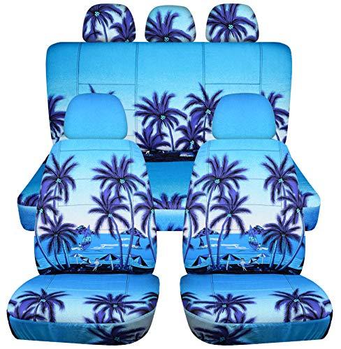 Hawaiian Print Car Seat Covers w 5 (2 Front + 3 Rear) Headrest Covers: Blue w Palm Tree - Semi-Custom Fit - Full Set - Will Make Fit Any Car/Truck/Van/SUV - Car Seat Print