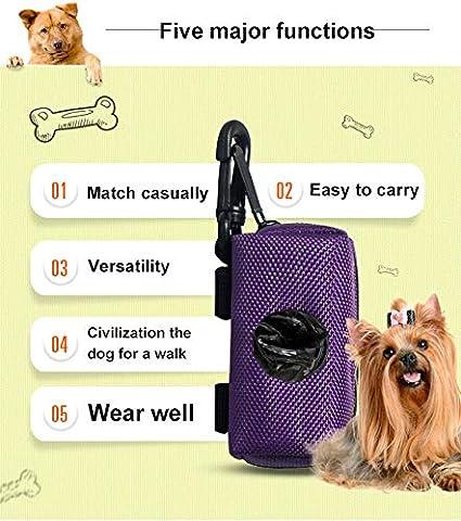 Soporte para bolsa de caca de perro entrenar dispensador de bolsas de desechos correr accesorios para perros Univegrow color negro para caminar para cualquier correa de perro senderismo