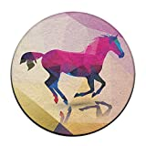 Geometric Horse Round Carpet Area Floor Rug Entrance Entry Way Front Door Mat Ground 23.6 Inch Rugs For Decor Decorative Men Women Office