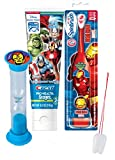 Avengers Iron Man Inspired 3pc Bright Smile Oral Hygiene Set! Turbo Powered Toothbrush, Toothpaste & Brushing Timer! Plus Bonus ''Remember To Brush'' Visual Aid!