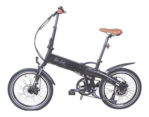 Bicicleta plegable eléctrica de Jet Line, diseño retro en color negro. Con 7 velocidades y marco de aluminio, cambio de marchas Shimano, y batería Samsung ...