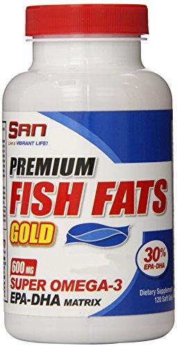 SAN Nutrition Premium Fish Fats Gold Omega-3 EPA-DHA Supplement for Cardiovascular Health & Fat Loss, 120 Count