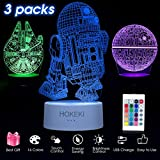 HOKEKI 3D LED Illusion Star Wars Night Lights for Kids, USB Decor Lamp Three Pattern, 16 Color Change Desk Decorative Light with Remote Control, for Kids and Star Wars Fans,3 Packs: more info