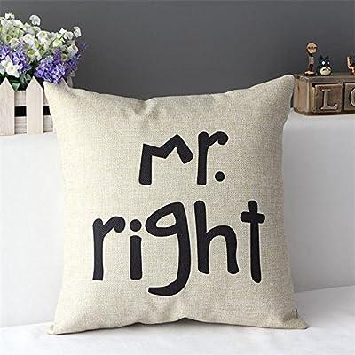 FairyTeller 2Pcs Linen Cotton Decorative Pillow Case Wedding Gift Cushion Cover Mr Mrs Always Right Capas De Almofada Quality First