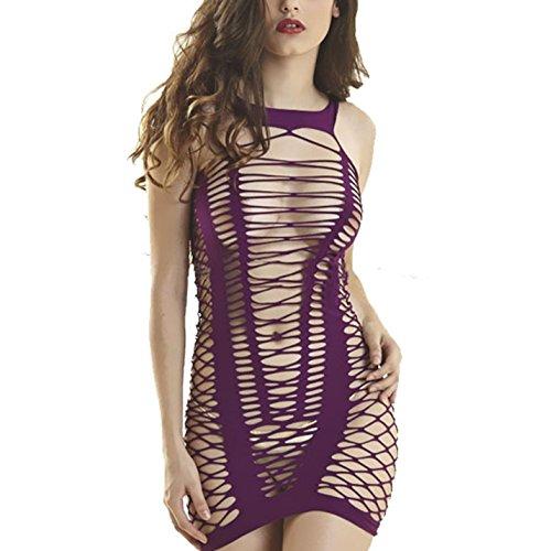 Zzmart Women Mesh Chemise Lingerie Dress, Fishnet Babydoll Lingerie Nightwear(One (Mesh Blazer)