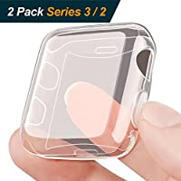 Deals on 2 Pack OULUOQI Compatible Apple Watch Screen Protector 38mm Case