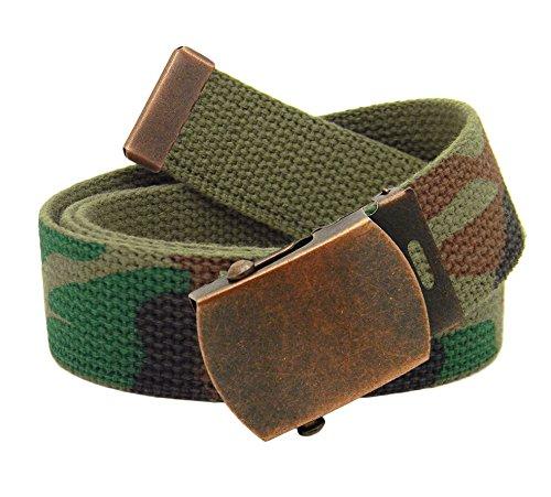 Green Kids Belt (Boys School Uniform Antique Copper Slider Military Belt Buckle with Canvas Web Belt Small Army Camo)