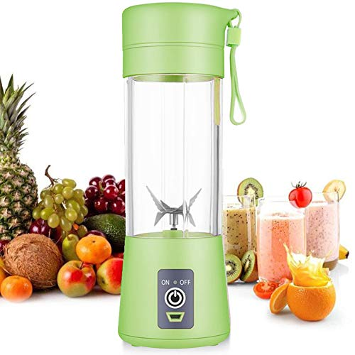 Blender, Portable Blender, Personal Juicer Cup Electric Fruit Mixer/Mini USB Juice Blender, Rechargeable, Six Blades in 3D for Superb Mixing, 380mL (Green)