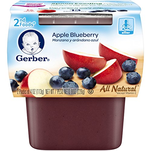 Gerber 2nd Foods Apple Blueberry, 4 oz Tubs, 2 Count