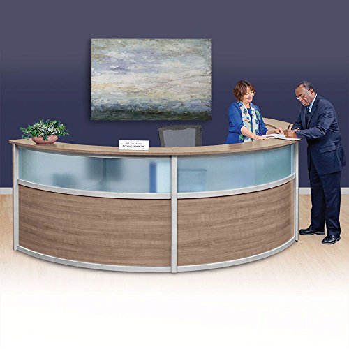 Triple Reception Desk with Glass Panel - 142''W x 72''D Stone Walnut Laminate/Silver Trim Dimensions: 142''W x 72''D x 45''H Weight: 498 lbs.Line Drawing by NBF Signature Series