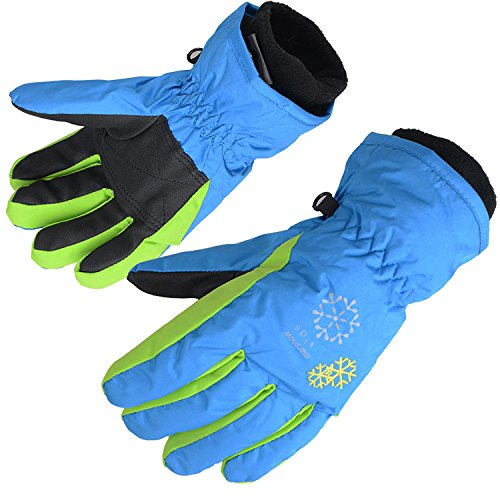 AMYIPO Kids Winter Snow Ski Gloves Children Snowboard Gloves for Boys Girls (Blue-3, 8-9 Years)