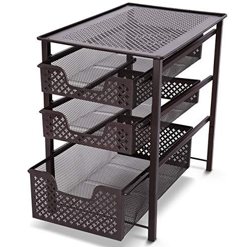 (Stackable Under Sink Organizer 3 Tier Sliding Basket Cabinet, Bronze, by Simple Trending)