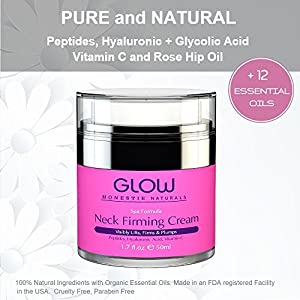 Neck Firming Cream, Anti Aging & Wrinkle Moisturizer For Neck & Face - Skin Tightening Repairs Loose & Sagging Skin, Fine Lines - Hyaluronic/Glycolic Acid, Peptides, Collagen & Vitamin C - 1.7 Oz