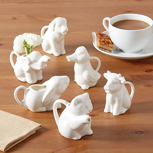 Set of 6 Personal Size Porcelain Animal Milk Pitchers (White Mini Creamer)
