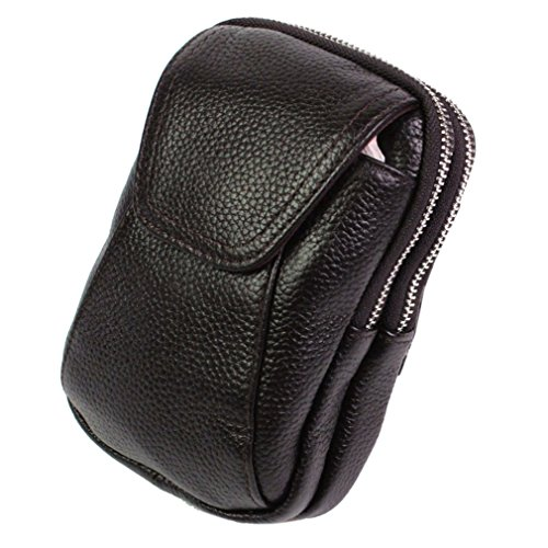 KUAISUF Men Genuine Leather Cowhide Phone Case Belt Pouch Purse Pack Waist Bag Cigarette Case Coffee by KUAISUF