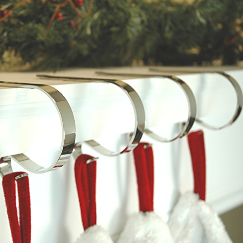 The Original MantleClip stocking holder, 4 pack - Silver by Haute Decor (Image #1)