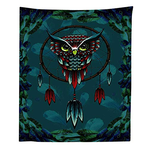- Simsant Owl Tapestry Psychedelic Magic Tonal Tapestry Wall Hanging (Forest Green,40x60inches(101.6x152.4CM))