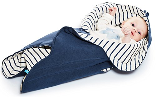 Basket Stripes Cotton Moses (Wallaboo Baby Blanket Fleur, Supersoft 100% Cotton, Newborn, For Pram, Moses Basket or Crib and Travel, Receiving Blanket in Flower shape. Size 34 x 34inch, Color: Blue Stripe)