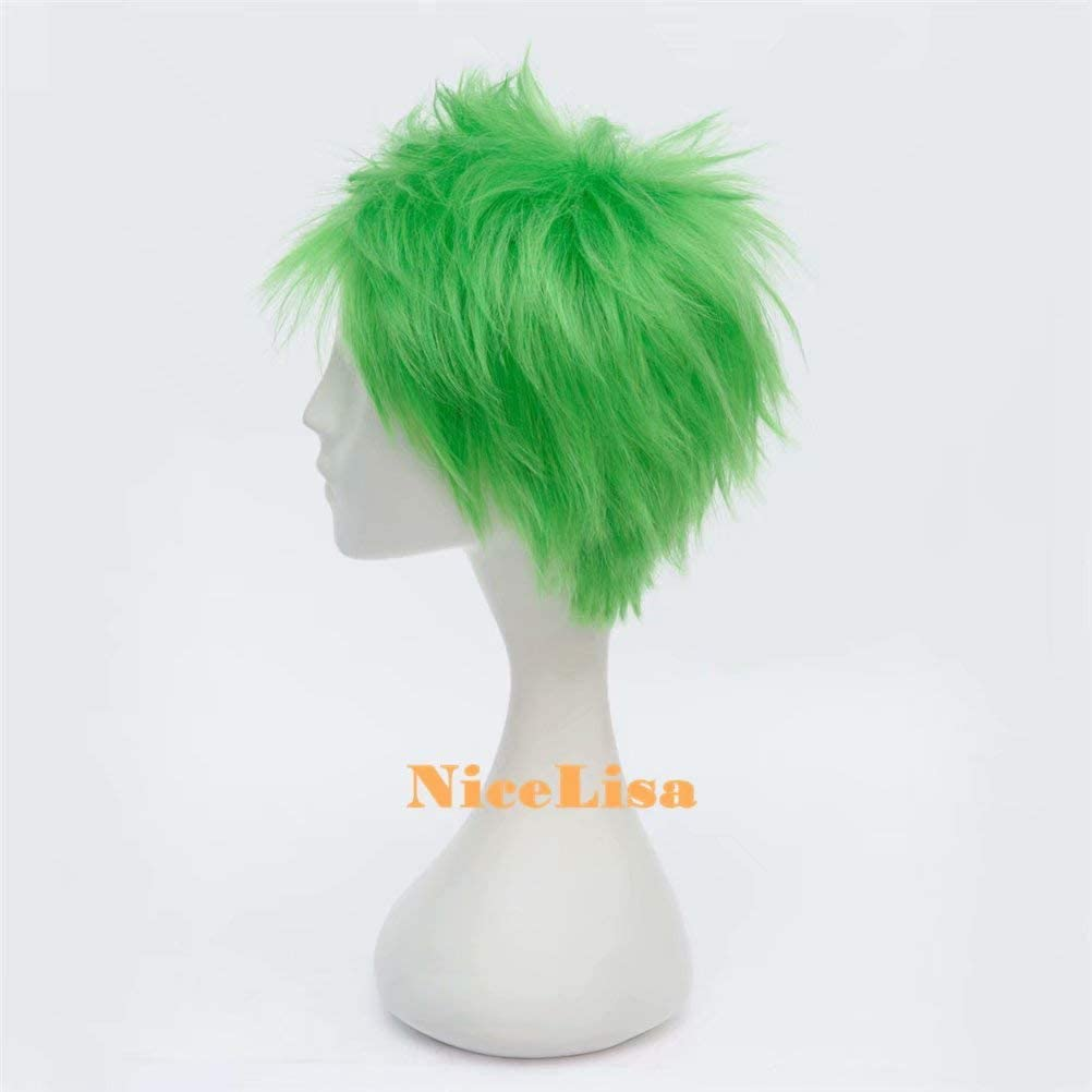 NiceLisa Mascarade Soir/ée Cosplay Perruque Courte Herbe Vert M/âle Gar/çon Anime Jeu De R/ôle Perruques
