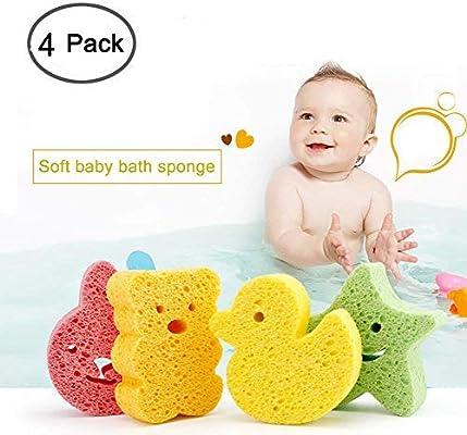 Baño de bebé Esponja Moonvvin 4 pcs Lindo Ducha Esponjas Baño de bebé Esponja Scrubber para la cabeza cara cuerpo: Amazon.es: Bebé