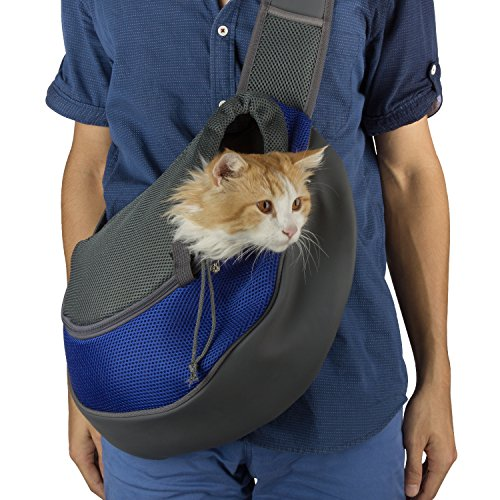 Dog Cat Carrier, Waterproof Breathable Soft Pet Travel Carrier Pet Sling Shoulder Carry Tote Handbag, Designed for Puppy,Kitty and Rabbits(Large,Blue)