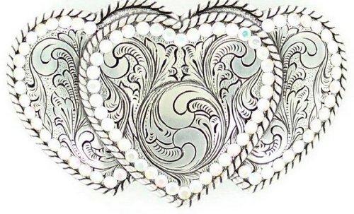 Buckle Rhinestone Belt Heart - Nocona Women's Triple Hearts Belt Buckle, Silver, OS