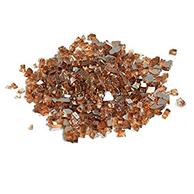 Skyflame High Luster 10-Pound Fire Glass for Fire Pit Fireplace Landscaping, 1/2-Inch
