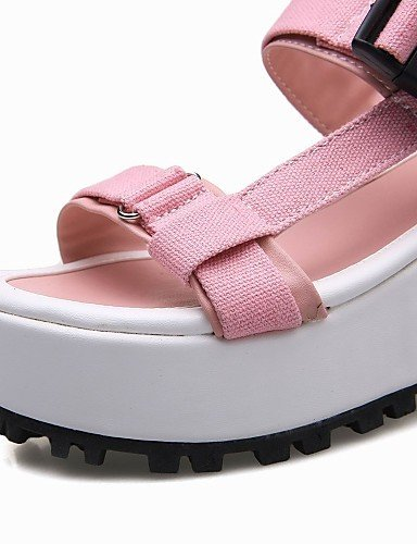 Yellow ShangYi Dress Orange Women's Creepers Fabric Pink Platform Sandals Pink Outdoor Strap Shoes Platform T Slingback PP7RWr