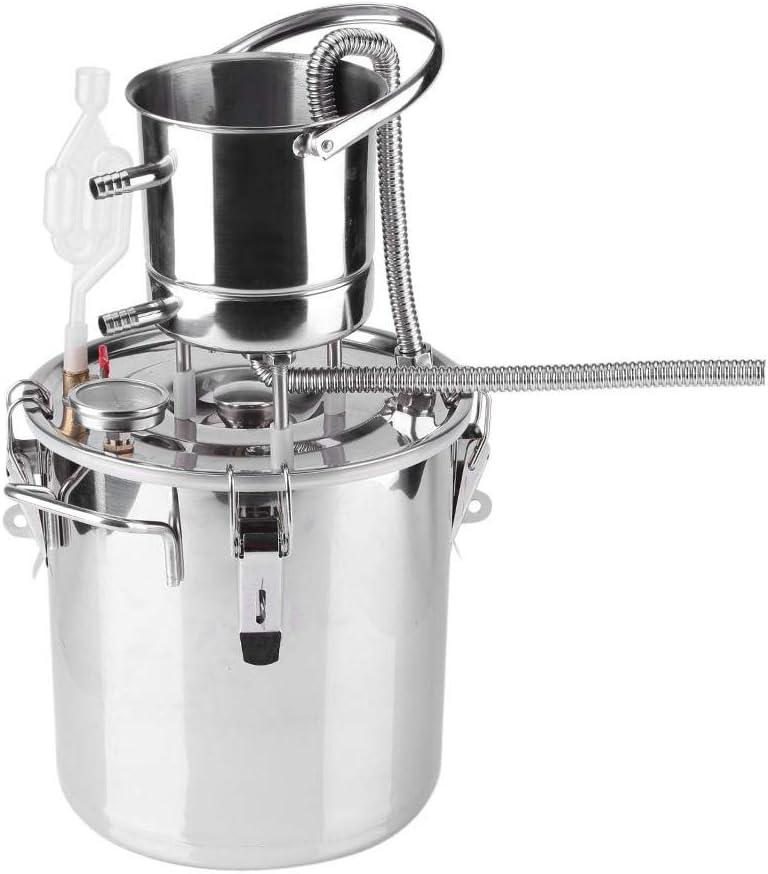 Asixx Alambique Destilación, Destilador Vino, de Acero Inoxidable Y Cobre, con Termómetro, Accesorios para Fermentar Y Destilar Bebidas Alcohólicas(10L)