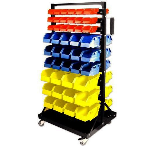 Rolling Parts Cart With 90 Organizer Bins Heavy Duty