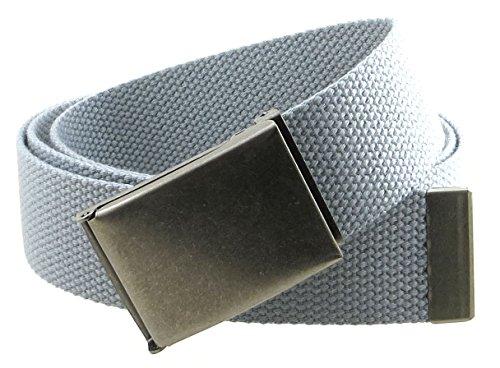 [Canvas Web Belt Flip-Top Antique Silver Buckle/Tip Solid Color 50