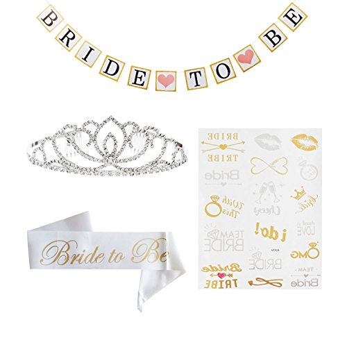 Bachelorette Party Decorations Kit, Bachelorette Sash for Bridal Shower Supplies, Rhinestone Crown Tiara, Bride To Be Banner, Flash Gold Bride Tribe - Gold Purple Go Be
