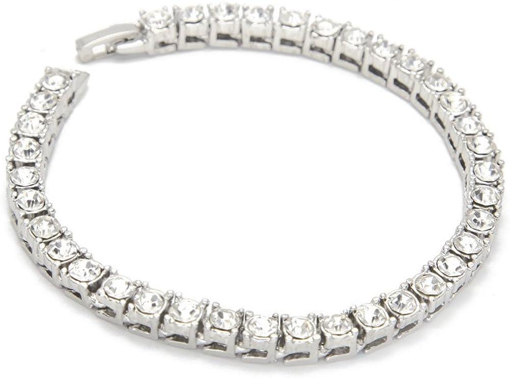SODIAL Pulsera de Hombre Hip Hop Color de Oro Pulsera Brillante Cadena de Diamantes de Imitacion de 1 Fila 20 cm / 8 Pulgadas
