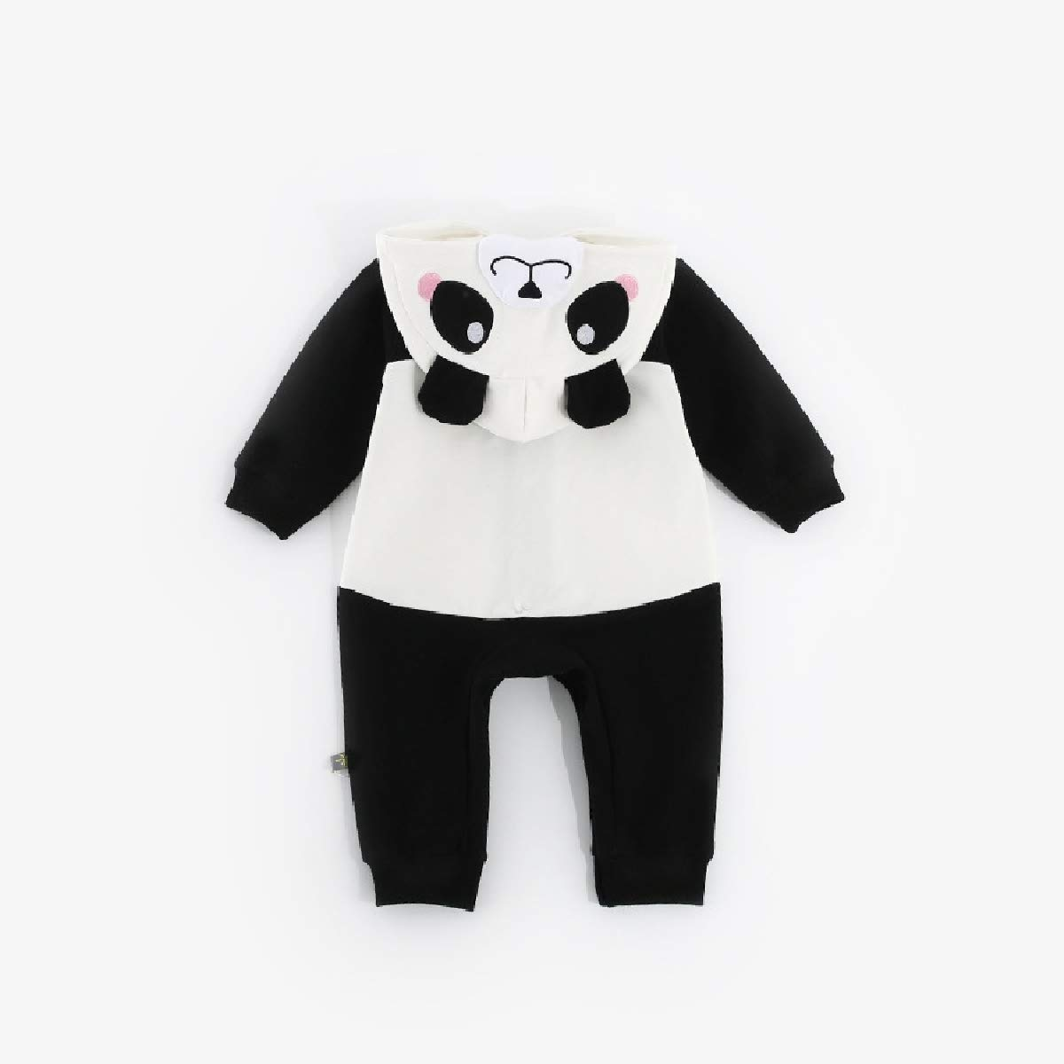 YUNY Newborn Baby Fine Cotton Animal Button Down Coveralls Romper Black 66