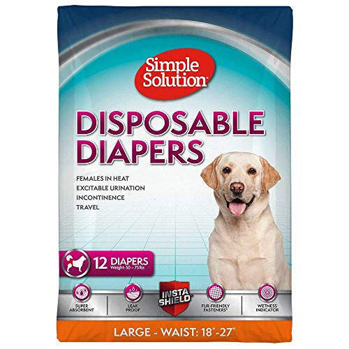 Simple Solution True Fit Disposable Dog Diapers Female Dogs | Super Absorbent Wetness Indicator | L/XL | 12 Count