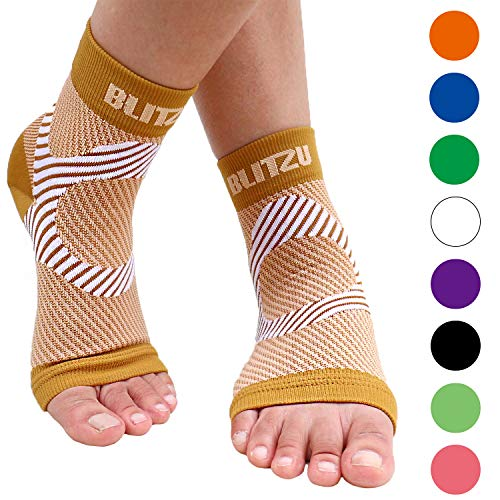 BLITZU Plantar Fasciitis Socks with Arch Support, Foot Care Compression Sleeve, Eases Swelling & Heel Spurs, Ankle Brace Support, Relieve Pain Fast Nude L-XL