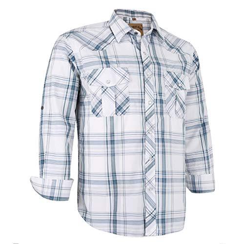 Coevals Club Men's Long Sleeve Casual Western Plaid Buttons Shirt (2XL, 28# White Plaid)