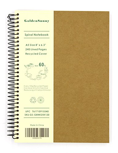 Recycled Cardboard Journal (GoldenSunny Recycled Cover Wirebound Notebook, 120 Lined Papers A5 Size Spiral Notebook)