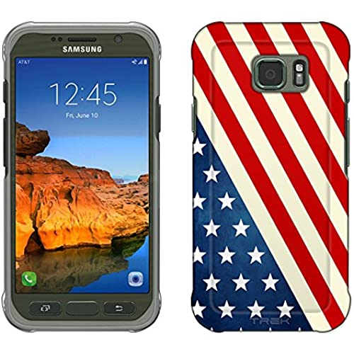 Samsung Galaxy S7 Active Case, Snap On Cover by Trek Slanted American Flag Slim Case Sales