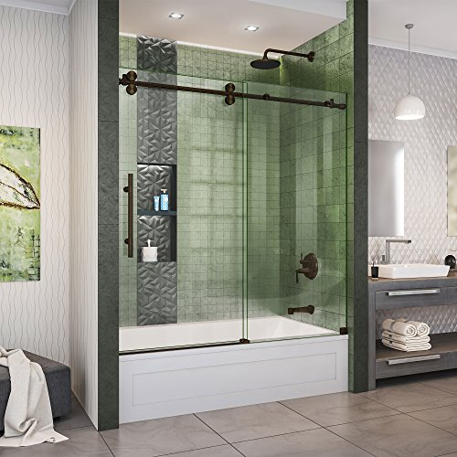 DreamLine Enigma-XO 55-59 in. W x 62 in. H Fully Frameless Sliding Tub Door in Oil Rubbed Bronze, SHDR-61606220-06