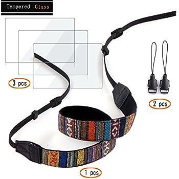 Screen Protector for Sony A6000 A6300 A5000 NEX-5 NEX-6 NEX-7 NEX-6L NEX-5T NEX-5C NEX-3N NEX5 NEX6 NEX7,Hard Tempered Glass (3 pack) + Shoulder Strap (1 ...