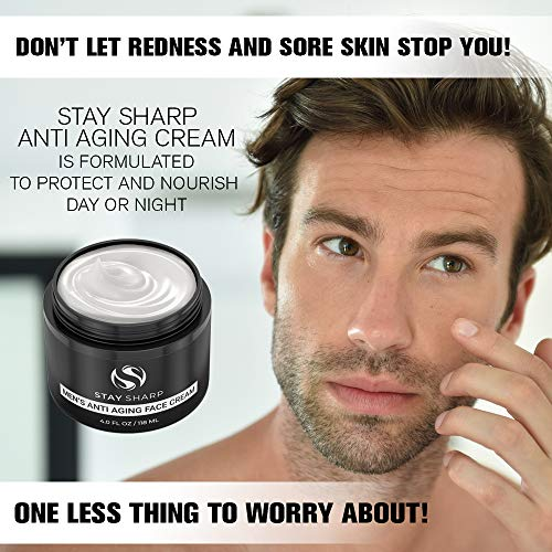51wh9xmL4mL - Anti Aging Face Cream For Men - Mens Face Moisturizer and Facial Lotion for Younger Looking Wrinkle Free Skin - 4oz