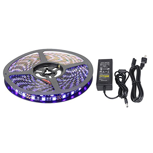 XKTTSUEERCRR Black PCB 16.4ft/5M 5050 SMD 300LED, Purple Color Waterproof Flexible Strip Light For Outdoors/Indoors/Car/Truck/Mall/Booth/Stage/House Decoration + DC Connector + 12V 5A Power - Mall Nm