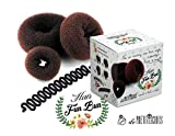 Hair Donut Ring Bun Styler (Brown) 3pieces Set. FREE French Braiding Styling tool. On Sale Now! Best gift for her! Perfect for Thanksgiving, Christmas, Holiday, Easter Birthday Gifts.