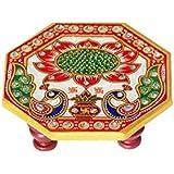 Handicrafts Paradise Octagonal Peacock Design Painted Marble Chowki (10.2 cm x 10.2 cm x 2.55 cm, Multicolor)
