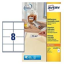 Avery L4745REV-25 - Etiquetas despegables (96 x 63,5 mm, 200 unidades), color blanco
