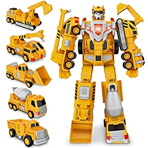 Best Epic Trends 51whB-W-ZJL._SS300_ Construction Toy Trucks for 3 4 5 6 Year Old Toddler Boy Kids, Magnetic Assemble Transform Robot Play Vehicles, 15.7…