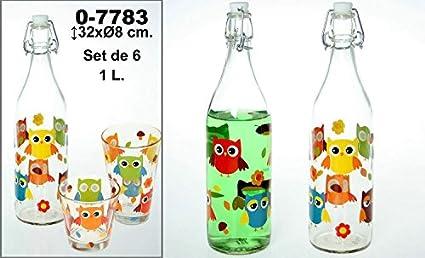 DonRegaloWeb - Set de 6 botellas de cristal y 1l de capacidad decoradas con búhos y